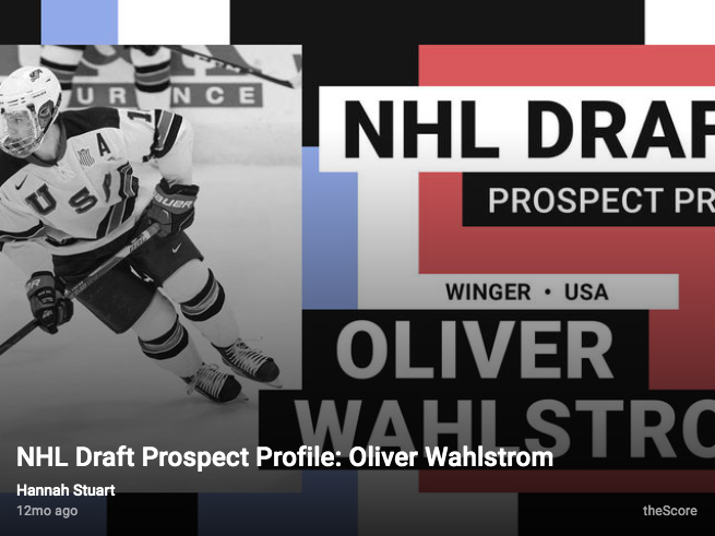 NHL Draft Prospect Profile: Oliver Wahlstrom by Hannah Stuart via The Score